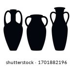 Antique Amphora Icons With Two...