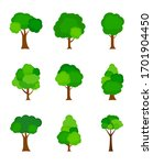 flat tree silhouette colored... | Shutterstock .eps vector #1701904450