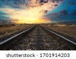 Old Railway In The Sunset