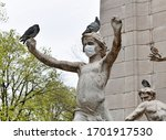 Statue Wearing Mask With Pigeon ...