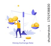 man weighing dollar  pound and... | Shutterstock .eps vector #1701938830