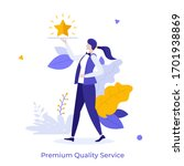 waiter carrying golden shining... | Shutterstock .eps vector #1701938869