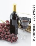 Red Wine And Bunch Of Grapes O...