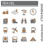 travel erelated icons set on... | Shutterstock .eps vector #1701968440