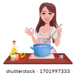 woman cooking at home. smiling... | Shutterstock .eps vector #1701997333