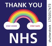 thank you nhs rainbow graphic | Shutterstock .eps vector #1702017673