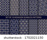 collection of hexagonal... | Shutterstock .eps vector #1702021150