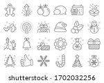 Christmas  New Year Line Icons. ...