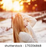 beauty girl outdoor | Shutterstock . vector #170206868