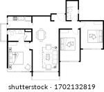 2d cad layout plan drawing of a ... | Shutterstock .eps vector #1702132819
