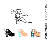 hand holding and spraying hand... | Shutterstock .eps vector #1702144153