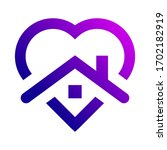 purple stay at home heart icon. ... | Shutterstock .eps vector #1702182919