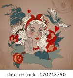 old school styled tattoo woman...   Shutterstock .eps vector #170218790