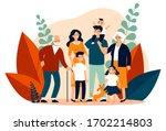 happy big family standing... | Shutterstock .eps vector #1702214803