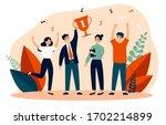 happy business team winning... | Shutterstock .eps vector #1702214899