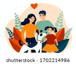 parents presenting pet to their ... | Shutterstock .eps vector #1702214986