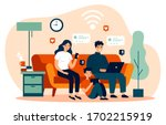 family suffering from social... | Shutterstock .eps vector #1702215919