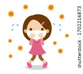 young girl wearing surgical... | Shutterstock .eps vector #1702216873
