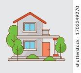 colorful cottage flat design... | Shutterstock .eps vector #1702249270
