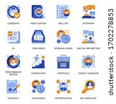 headhunting icons set in flat...