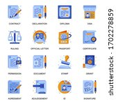 legal documents icons set in...