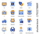 cinema icons set in flat style. ...