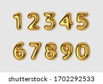 realistic 3d font gold numbers. ... | Shutterstock .eps vector #1702292533