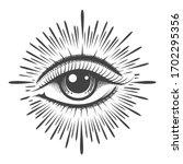 all seeing eye masonic symbol... | Shutterstock .eps vector #1702295356