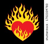 Vector Heart With Fire  Simple...