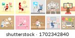 work from home vector set... | Shutterstock .eps vector #1702342840