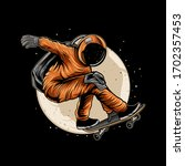 Astronaut Skateboarding On...