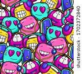 seamless pattern of cartoon... | Shutterstock .eps vector #1702372840