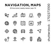 set of navigation   map icons ... | Shutterstock .eps vector #1702373500