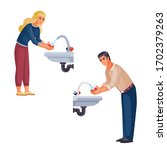 man and woman wash their hands... | Shutterstock .eps vector #1702379263