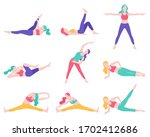 women fitness exercise posture... | Shutterstock .eps vector #1702412686