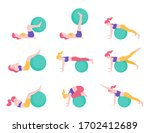 women fitness exercise ball... | Shutterstock .eps vector #1702412689