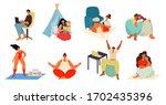 young people  men and women... | Shutterstock .eps vector #1702435396