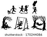 Sets Of Silhouette Children Bo...