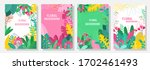 vector set floral background ... | Shutterstock .eps vector #1702461493
