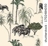 safari zebras in tropical... | Shutterstock .eps vector #1702484050