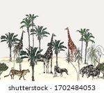 safari wildlife seamless border ... | Shutterstock .eps vector #1702484053