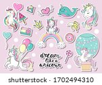 collection of funny unicorns on ... | Shutterstock .eps vector #1702494310