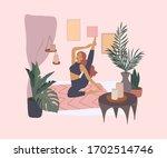cute girl doing yoga poses.... | Shutterstock .eps vector #1702514746