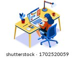 home with girl working in... | Shutterstock .eps vector #1702520059