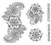 set of mehndi flower pattern...   Shutterstock .eps vector #1702539919
