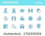 simple set of coronavirus... | Shutterstock .eps vector #1702550356