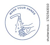 washing hands with soap.... | Shutterstock .eps vector #1702563010
