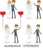 set of cartoon wedding pictures  | Shutterstock .eps vector #170256353