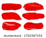 set of vector red glossy paint... | Shutterstock .eps vector #1702587253