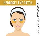 golden hydrogel eye patches.... | Shutterstock .eps vector #1702606336